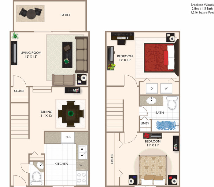 WOODS 2 TOWNHOME 1216 Floor Plan